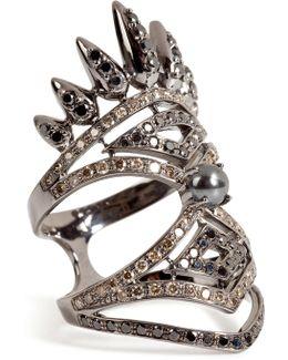 18kt Blackened Gold Spectrum Ring With Diamonds And Hematite