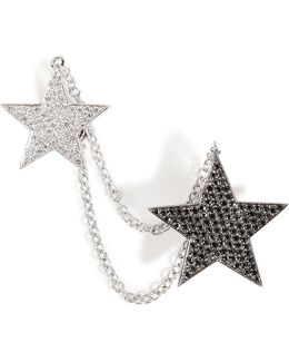 18kt White Gold And Diamond Double Star Cuff Earring