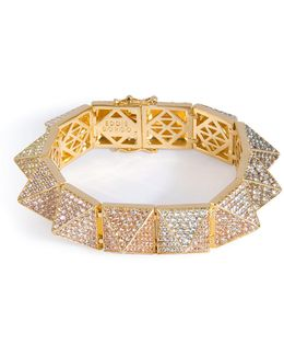 Gold-plated Pyramid Bracelet With Crystal Embellishment