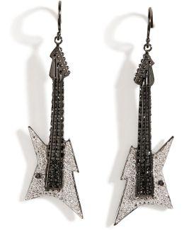 Black Rhodium Silver Guitar Earrings B In White