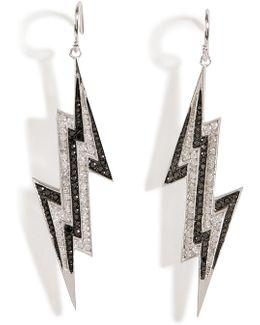 Sterling Silver Lightening Bolt Earrings With Diamonds