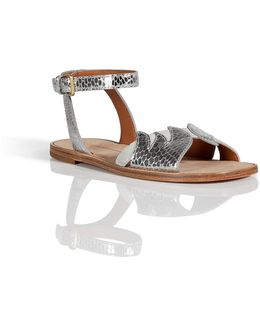Embossed Leather/suede Sandals