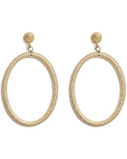 18k Gold Gitane Sparkly Oval Earrings