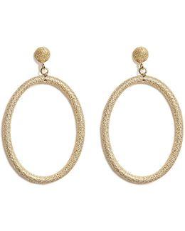 18k Gold Gitane Sparkly Oval Earrings