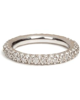 18k White Gold 1885 Chunky Ring With Pave Diamonds