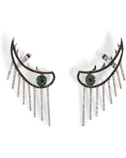 18k Gold Weeping Eye Earring With Diamonds And Tsavorites