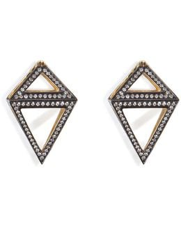 18k Gold Octahedron Earrings With White Diamonds