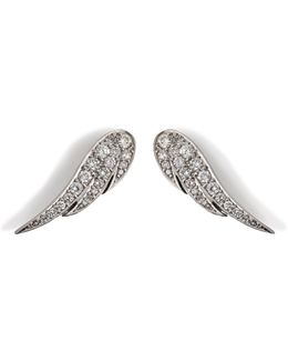 18kt White Gold Wing Earrings With Diamonds