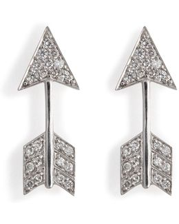 18kt White Gold Arrow Earrings With Diamonds
