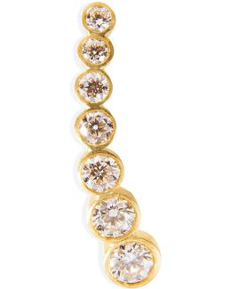 Gold/white Diamond Petite Croissant De Lune Earring
