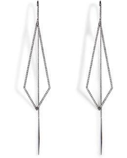 18k Black Gold Triangular Drop Earrings