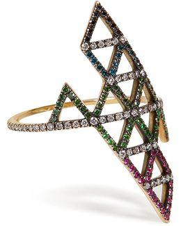 Gold, Diamond, And Tsavorite Triangle Ring