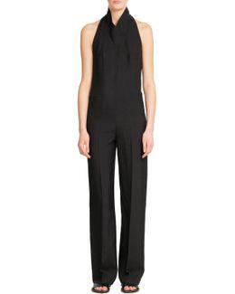 High Neck Silk Jumpsuit