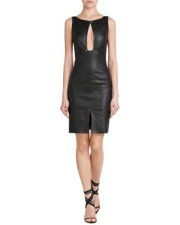 Leather Dress With Keyhole Front