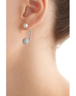 18kt White Gold Sphere Earring With Diamonds And Pearl