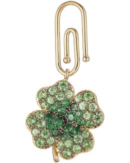 18kt Gold Clover Pendant With Tsavorites