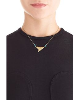 Shark 18kt Yellow Gold Necklace With Turquoise