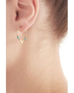 Shark 18kt Yellow Gold Earrings With Turquoise