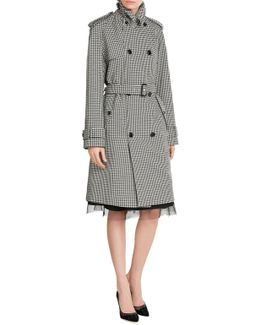 Printed Wool Trench Coat