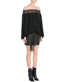 Leather Skirt With Fringe