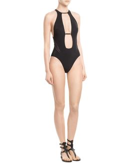 One Piece With Iridescent Cutouts