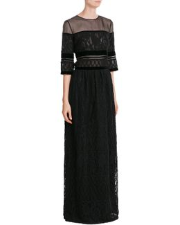 Floor-length Dress With Lace