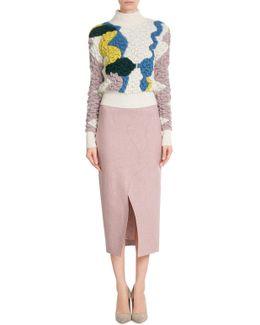 Slotted Wool Midi-skirt