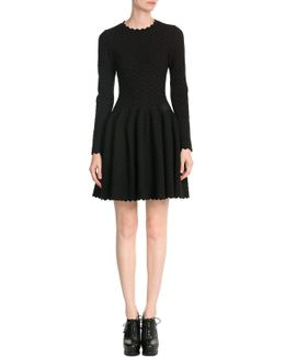 Spotted Knit Dress With Wool