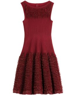 Ruffled Knit Dress With Wool