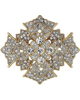 Crystal Cross Brooch