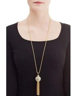 Jeweled Necklace With Chain Tassel
