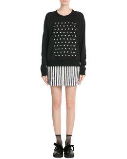 Googley Eye Embellished Cotton Sweatshirt