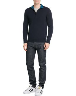 Zip Front Cashmere Pullover