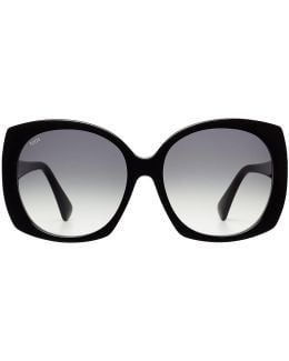 Oversize Sunglasses With Leather
