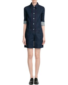 Jean Playsuit With Embroidered Crochet Detailing