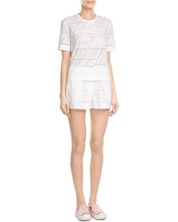 Perforated Silk Shorts