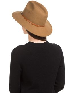 Wool Hat With Studded Leather Band