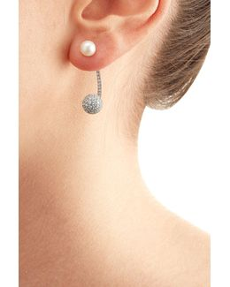19kt White Gold Sphere Earring With Diamonds And Pearl