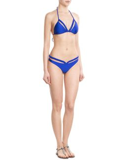 Kiss The Wave Triangle Bikini Top With Cut Out Detail