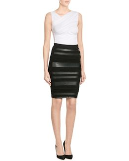 Pencil Skirt With Faux Leather