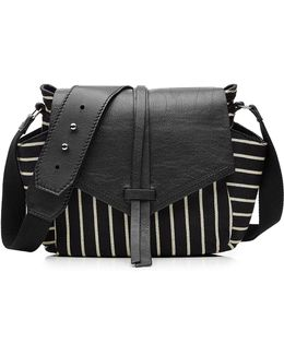 Leather And Striped Cotton Shoulder Bag