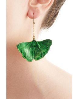 18kt Gold Ginkgo Leaf Earrings