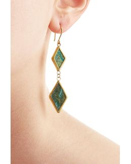 Gold Plated Silver Earrings With Chrysocolla Stones