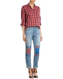 Straight Leg Jeans With Contrast Knee Patches