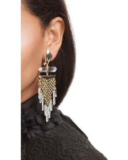 Dangling Rock Crystal Mesh Clip Earring
