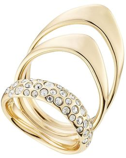Triple Ring With Crystals