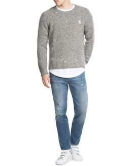 Distressed Wool Pullover With Cashmere