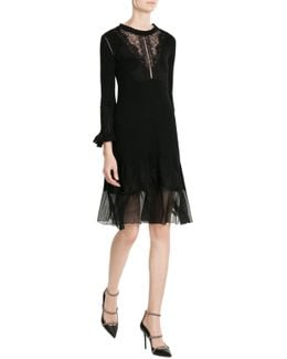 Virgin Wool Dress With Lace