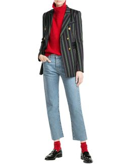 Striped Blazer With Wool