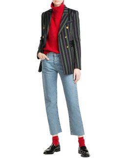 Striped Blazer With Wool